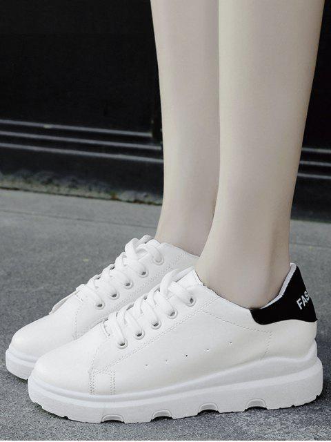 affordable Faux Leather Breathable Color Block Flat Shoes - BLACK 40 Mobile