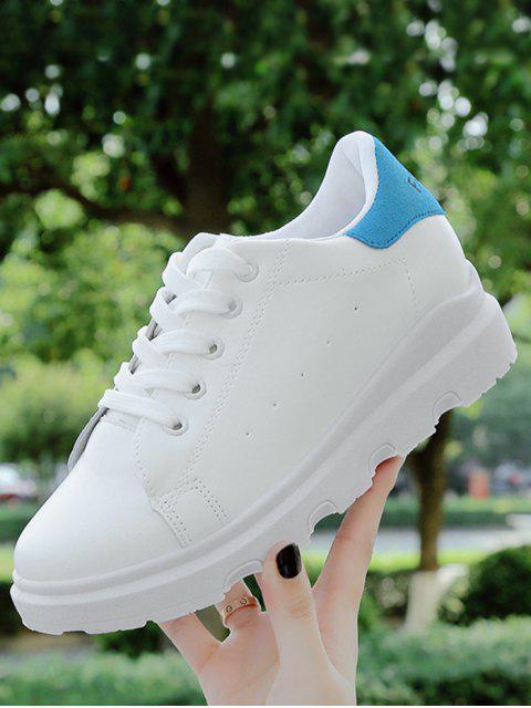 chic Faux Leather Breathable Color Block Flat Shoes - BLUE 38 Mobile