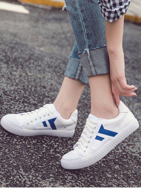 women Faux Leather Colour Block Flat Shoes - BLUE 38 Mobile