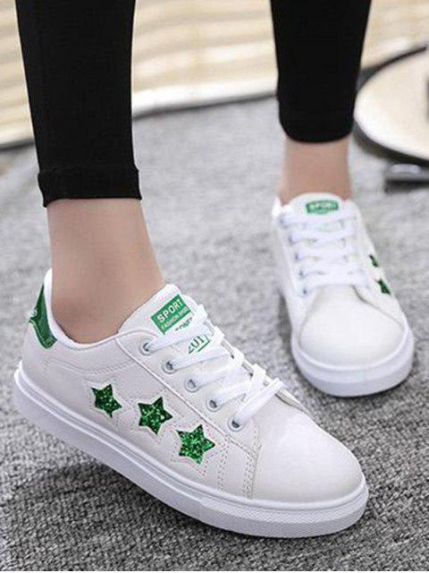 women's Star Pattern Lace Up Sequins Flat Shoes - GREEN 37 Mobile