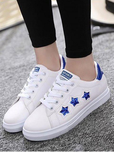 outfit Star Pattern Lace Up Sequins Flat Shoes - BLUE 38 Mobile