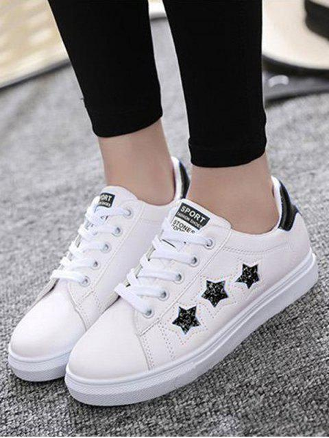 latest Star Pattern Lace Up Sequins Flat Shoes - BLACK 38 Mobile