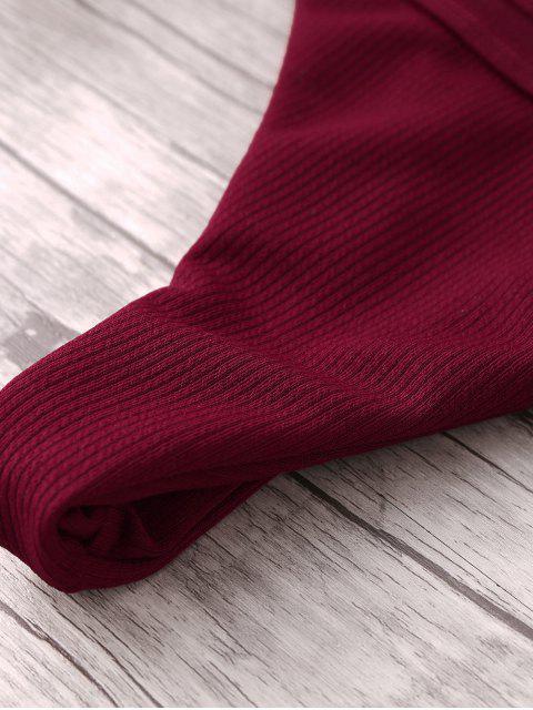 affordable Ribbed String Bikini Set - WINE RED L Mobile