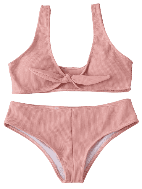 online Front Knot Ribbed Bikini Set - PINK S Mobile