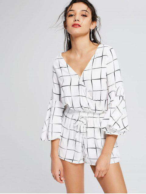 Plunging Neck Flare Sleeve Checked Romper - Carré XL Mobile