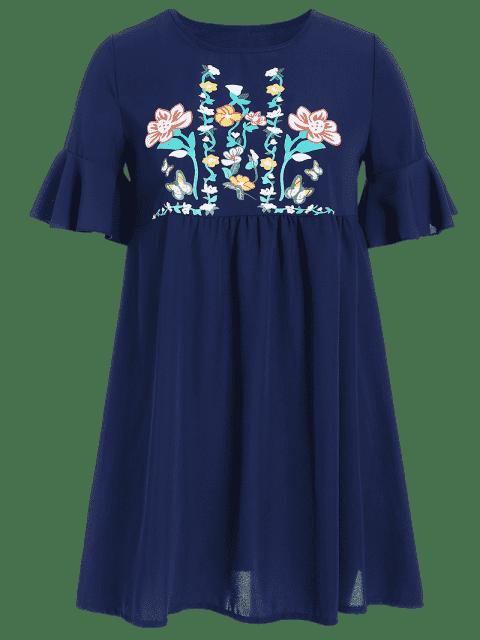 Robe de survêtement Floral Plus Size - Bleu 4XL Mobile