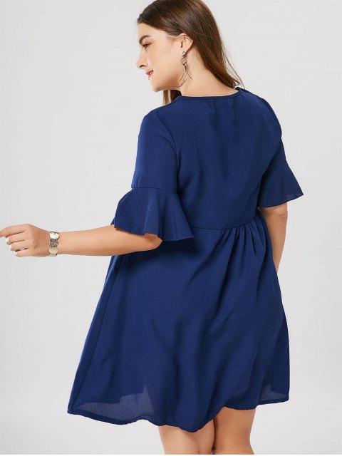 shops Floral Plus Size Babydoll Dress - BLUE 5XL Mobile