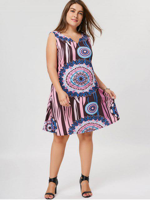 chic Plus Size Printed A Line Dress - COLORMIX 5XL Mobile
