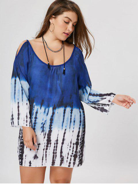 unique Plus Size Tie Dye Cold Shoulder Tunic Dress - COLORMIX 3XL Mobile