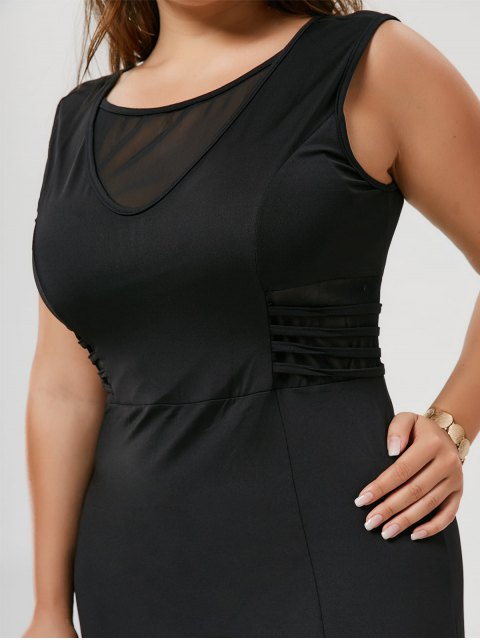 Slit Mesh Panel Plus Size Maxi Dress - Noir 2XL Mobile
