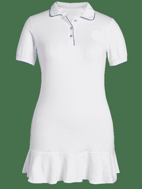 ladies Plus Size Ruffle Polo Dress - WHITE 2XL Mobile