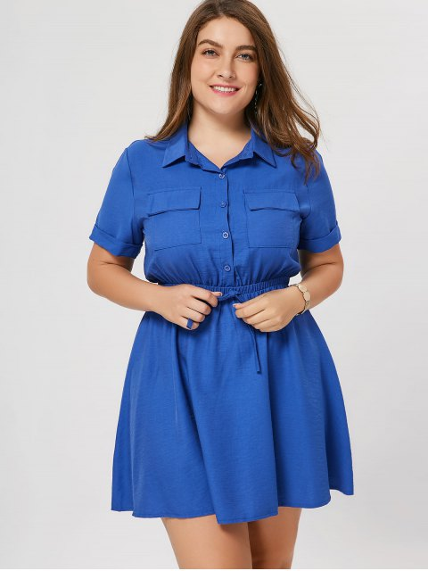 best Plus Size Cuffed Shirt Dress - BLUE 3XL Mobile