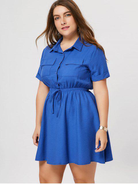 Robe à manches courtes taille grande - Bleu 4XL Mobile