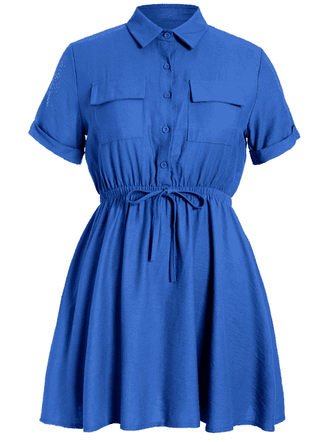 online Plus Size Cuffed Shirt Dress - BLUE 4XL Mobile