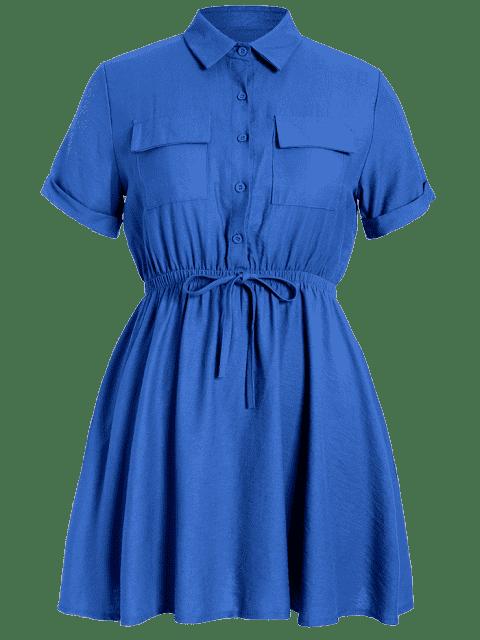 new Plus Size Cuffed Shirt Dress - BLUE 5XL Mobile