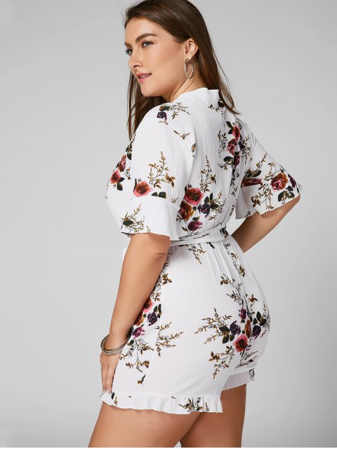 hot Floral Textured Plus Size Romper - WHITE XL Mobile