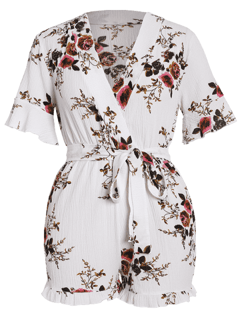 outfit Floral Textured Plus Size Romper - WHITE 2XL Mobile