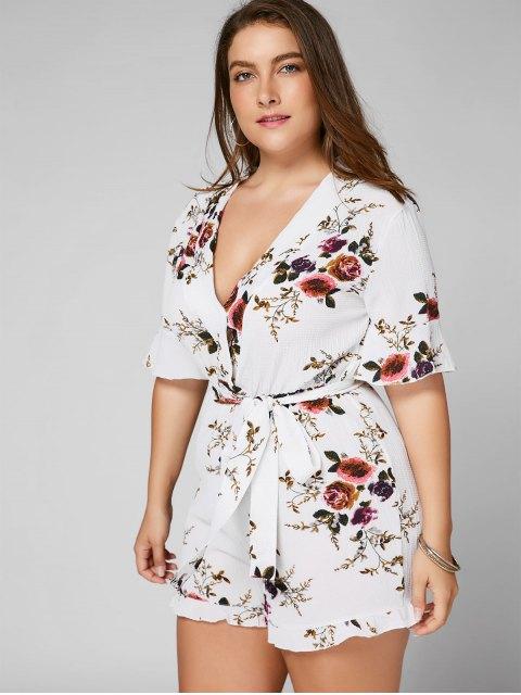 Robe texturée à grande taille - Blanc 3XL Mobile