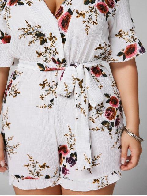 shop Floral Textured Plus Size Romper - WHITE 4XL Mobile