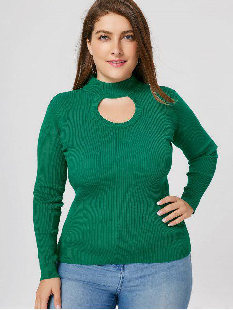 sale Plus Size Ribbed Cutout Mock Neck Sweater - GREEN 5XL Mobile