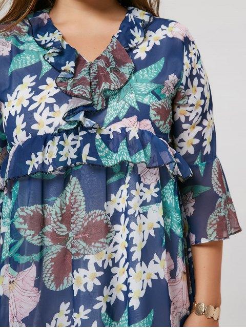 Ruffle Floral Plus Size Robe - Multicolore 2XL Mobile