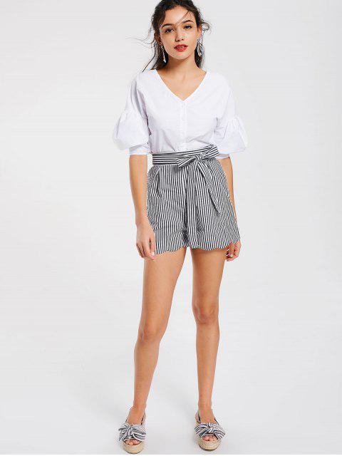 online Belted Scalloped Stripes Shorts - STRIPE S Mobile