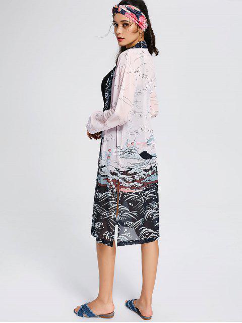 Blouse Kimono Ouverture Devant avec Fente Longue - Multicolore L Mobile