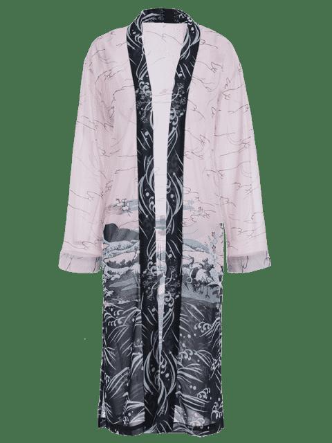 outfit Slit Long Open Front Kimono Blouse - COLORMIX S Mobile