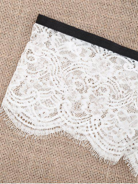 buy Full Lace Sheer Boxer Panties - WHITE L Mobile