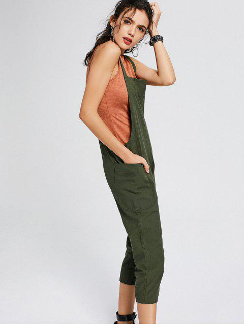 affordable Square Collar Capri Jumpsuit with Pockets - ARMY GREEN S Mobile