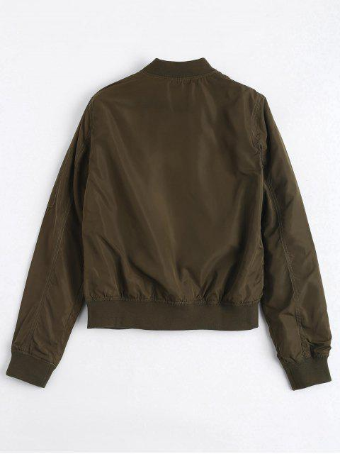 womens Invisible Pockets Zippered Bomber Jacket - ARMY GREEN M Mobile