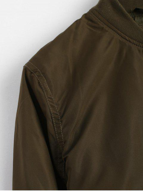 women Invisible Pockets Zippered Bomber Jacket - ARMY GREEN S Mobile