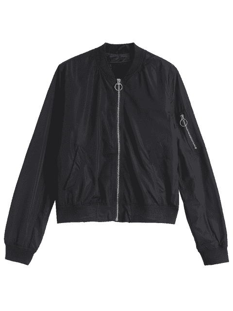 women's Invisible Pockets Zippered Bomber Jacket - BLACK L Mobile