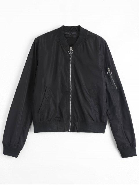 ladies Invisible Pockets Zippered Bomber Jacket - BLACK M Mobile