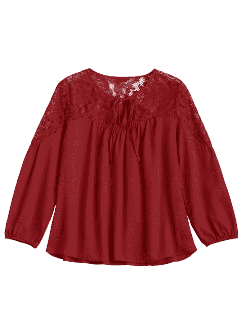 outfits Loose Chiffon Lace Panel Blouse - RED S Mobile
