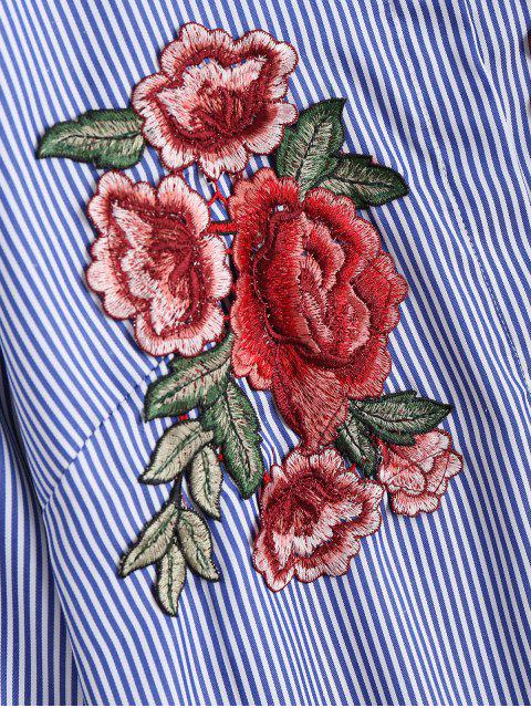 trendy Floral Embroidered Patches Stripes Shirt - DEEP BLUE L Mobile