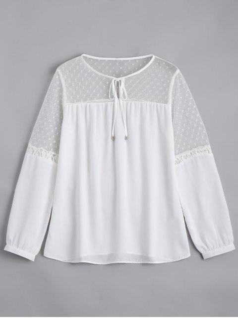 ladies See Thru Voile Panel Chiffon Blouse - WHITE S Mobile