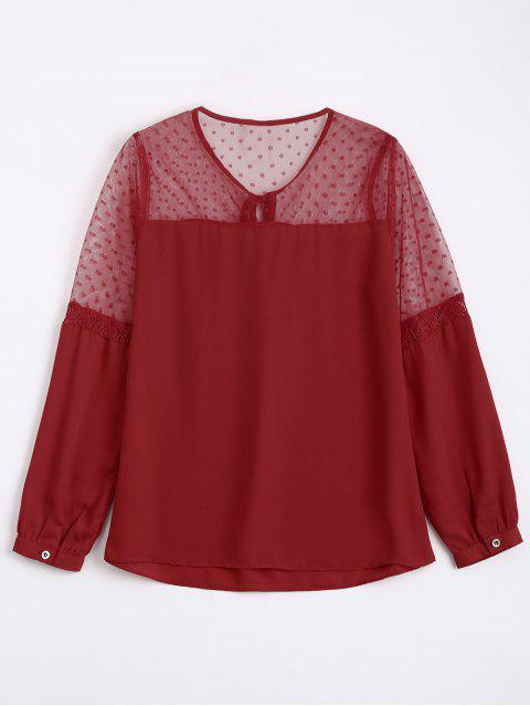 hot See Thru Voile Panel Chiffon Blouse - RED S Mobile