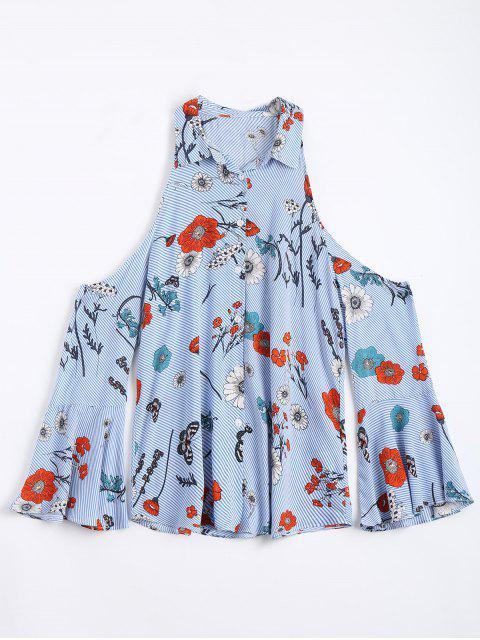 fancy Stripes Floral Cold Shoulder Shirt - LIGHT BLUE S Mobile
