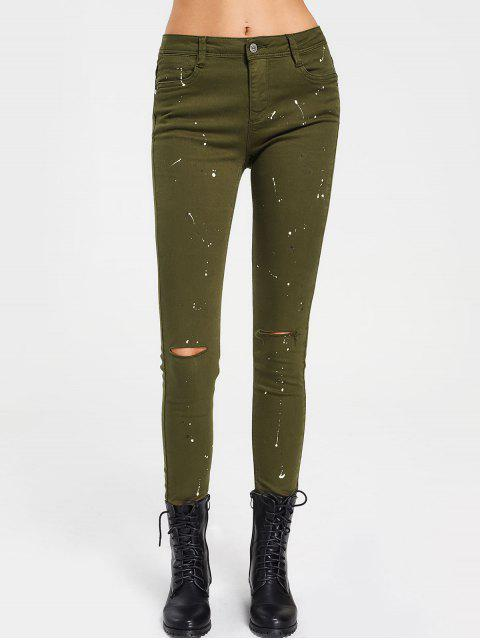 sale Paint Printed Pencil Pants - ARMY GREEN L Mobile