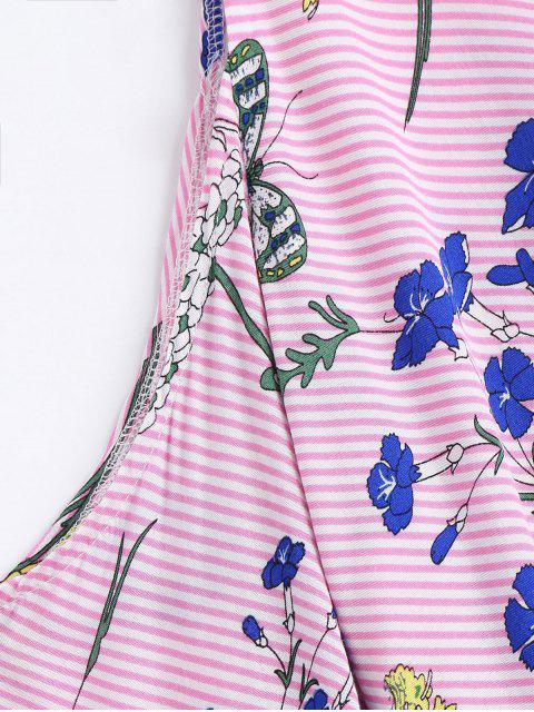 women Stripes Floral Cold Shoulder Shirt - PINK S Mobile