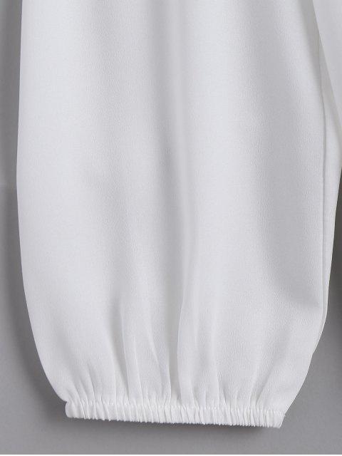 latest Loose Chiffon Lace Panel Blouse - WHITE L Mobile