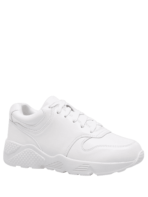 buy Running Faux Leather Sneakers - WHITE 39 Mobile