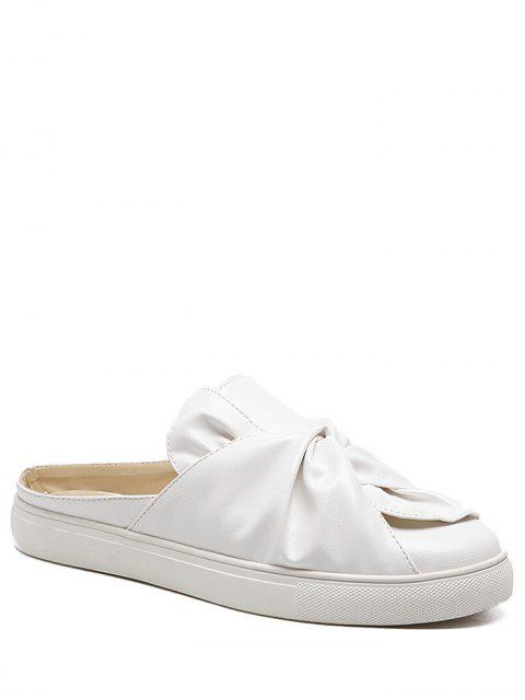 women Faux Leather Bowknot Slip On Flats - WHITE 37 Mobile