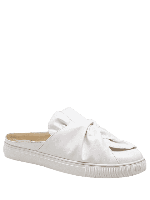 online Faux Leather Bowknot Slip On Flats - WHITE 40 Mobile
