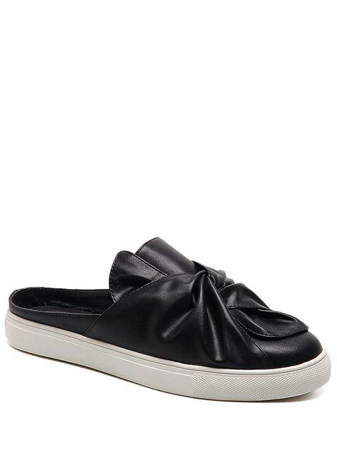 Faux Leather Bowknot Slip On Flats - Noir 40 Mobile