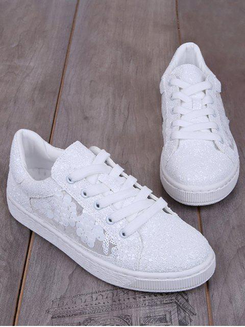 El brillo ata para arriba los zapatos planos de los cequis - Blanco 38 Mobile
