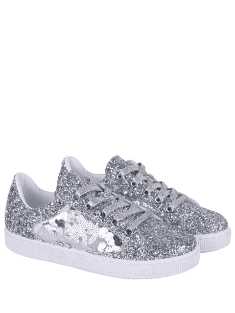 chic Glitter Tie Up Sequins Flat Shoes - SILVER 39 Mobile