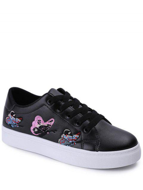 buy Embroidery Tie Up Butterfly Pattern Flat Shoes - BLACK 39 Mobile