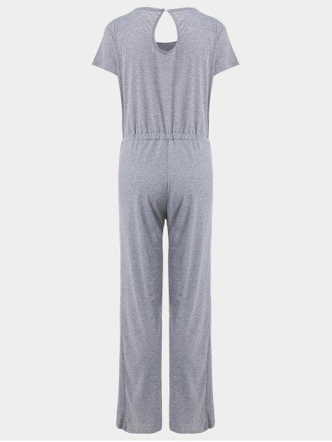 outfits Invisible Pockets Drawstring Wide Leg Jumpsuit - GRAY XL Mobile